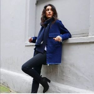 Zara Blue Jean Oversized Utility Shirt Jacket XS